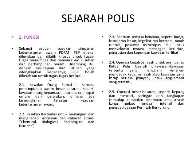 Nota Sejarah Polis Malaysia