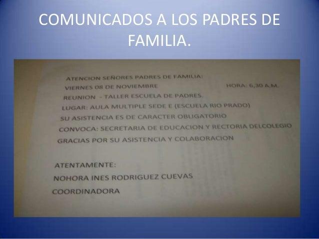 COMUNICADOS A LOS PADRES DE FAMILIA.