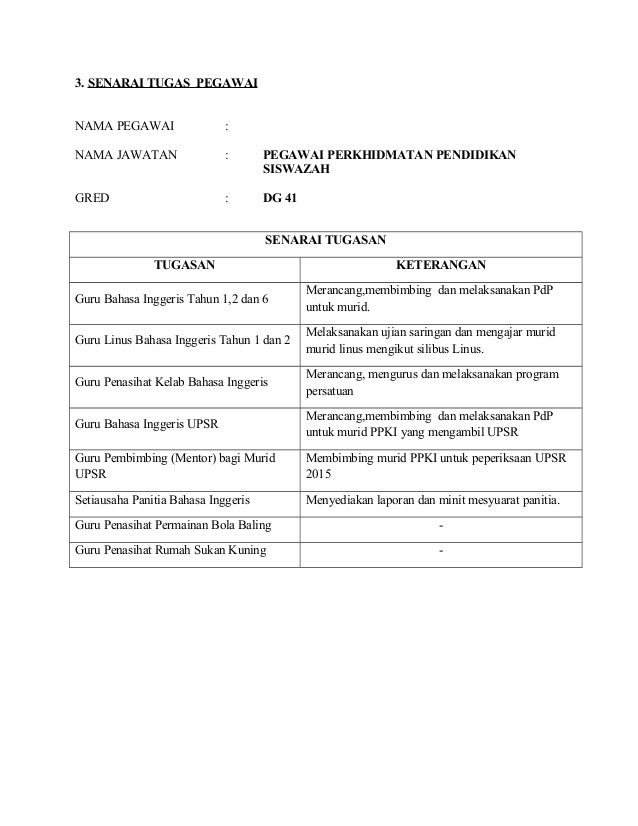 Borang Nota Serah Tugas Guru