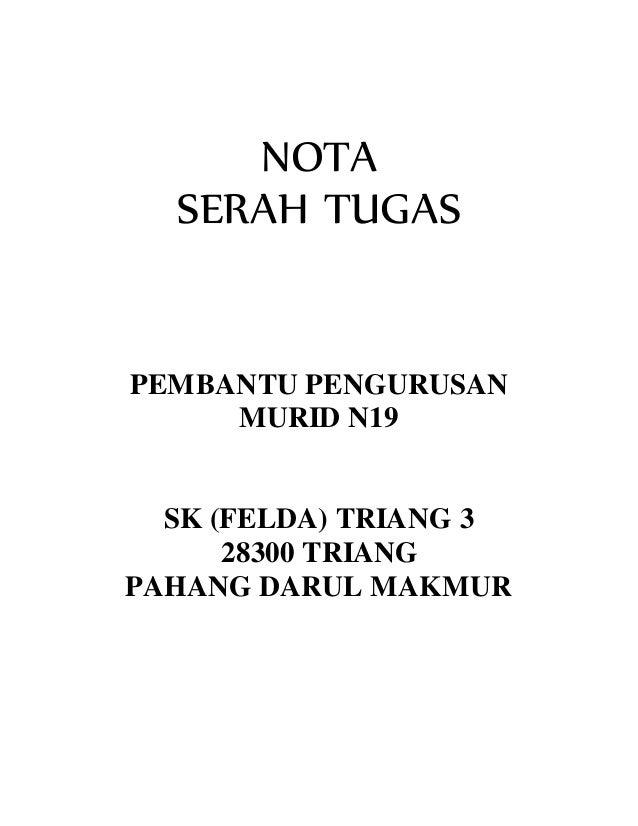 Nota Serah Tugas Ppm Prasekolah N19