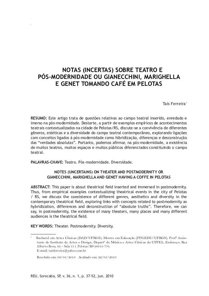 NOTAS (INCERTAS) SOBRE TEATRO E PÓS-MODERNIDADE OU GIANECCHINI,                                 37MARIGHELLA E GENET TOMAN...