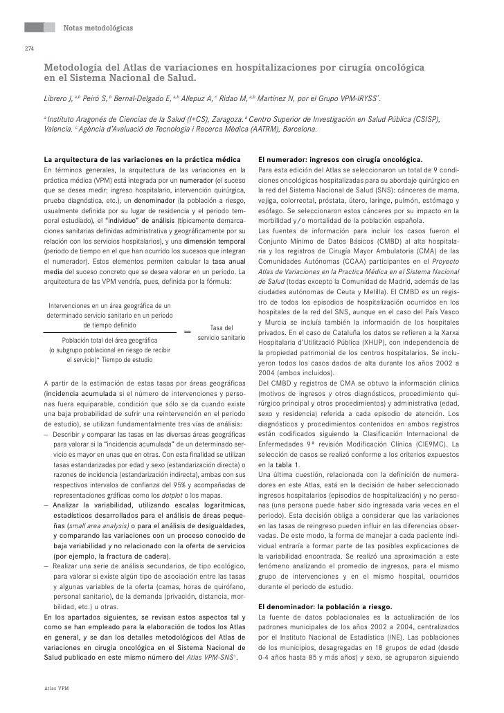 Notas metodológicas  274         Metodología del atlas de variaciones en hospitalizaciones por cirugía oncológica       en...