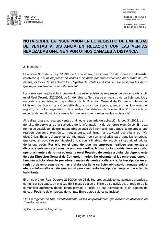 Página 1 de 3  MINISTERIO  DE ECONOMÍA  Y COMPETITIVIDAD  SECRETARÍA DE ESTADO  DE COMERCIO  DIRECCIÓN GENERAL DE COMERCIO...