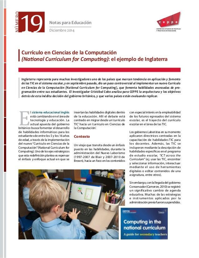 Currículo en Ciencias de la Computación (National Curriculum for Computing): el ejemplo de Inglaterra Inglaterra represe...