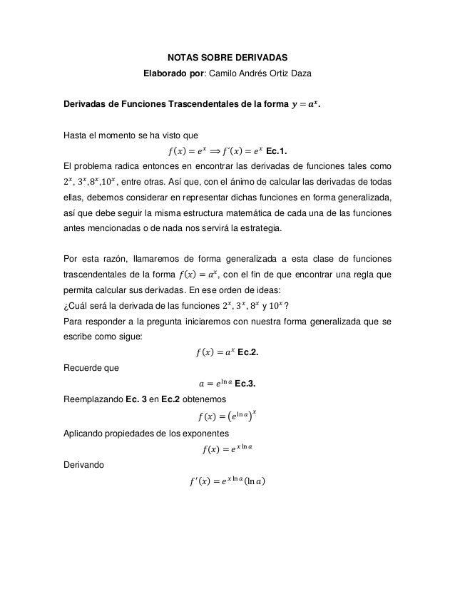NOTAS SOBRE DERIVADAS Elaborado por: Camilo Andrés Ortiz Daza Derivadas de Funciones Trascendentales de la forma 𝒚 = 𝒂 𝒙 ....