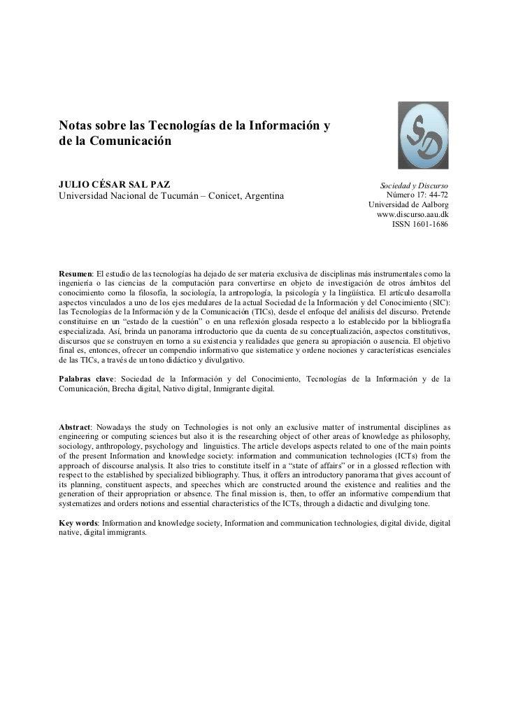 Notas sobre las Tecnologías de la Información yde la ComunicaciónJULIO CÉSAR SAL PAZ                                      ...