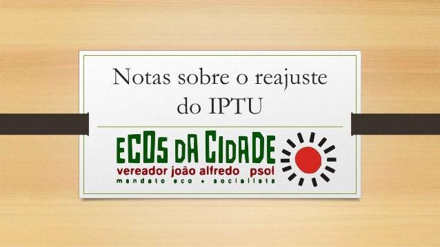 Notas sobre o reajuste do IPTU