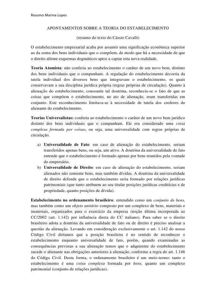 Resumo Marina Lopes         APONTAMENTOS SOBRE A TEORIA DO ESTABELECIMENTO                          (resumo do texto do Cá...