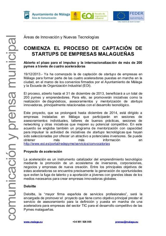 comunicación y prensa municipal  Áreas de Innovación y Nuevas Tecnologías  COMIENZA EL PROCESO DE CAPTACIÓN DE STARTUPS DE...