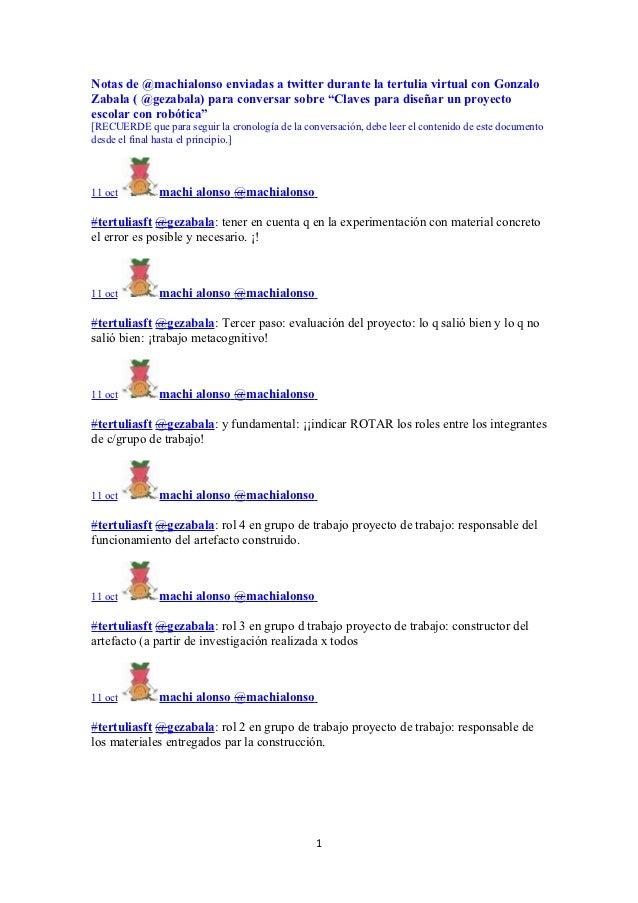 """Notas de @machialonso enviadas a twitter durante la tertulia virtual con GonzaloZabala ( @gezabala) para conversar sobre """"..."""