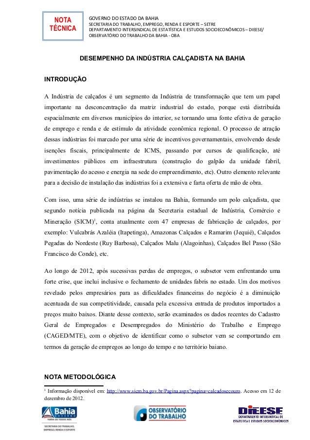 NOTA          GOVERNO DO ESTADO DA BAHIA                   SECRETARIA DO TRABALHO, EMPREGO, RENDA E ESPORTE – SETRE    TÉC...