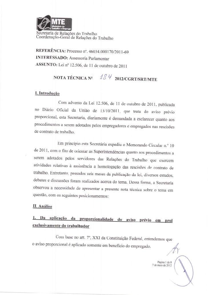 Nota técnica nº 184 2012 cgrt aviso previo proporcional