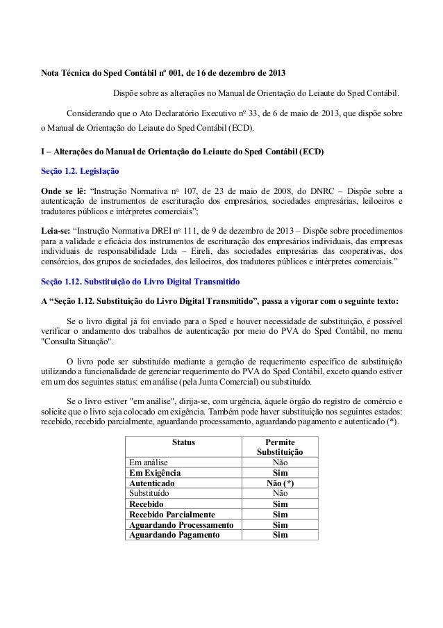 Nota Técnica do Sped Contábil nº 001, de 16 de dezembro de 2013 Dispõe sobre as alterações no Manual de Orientação do Leia...
