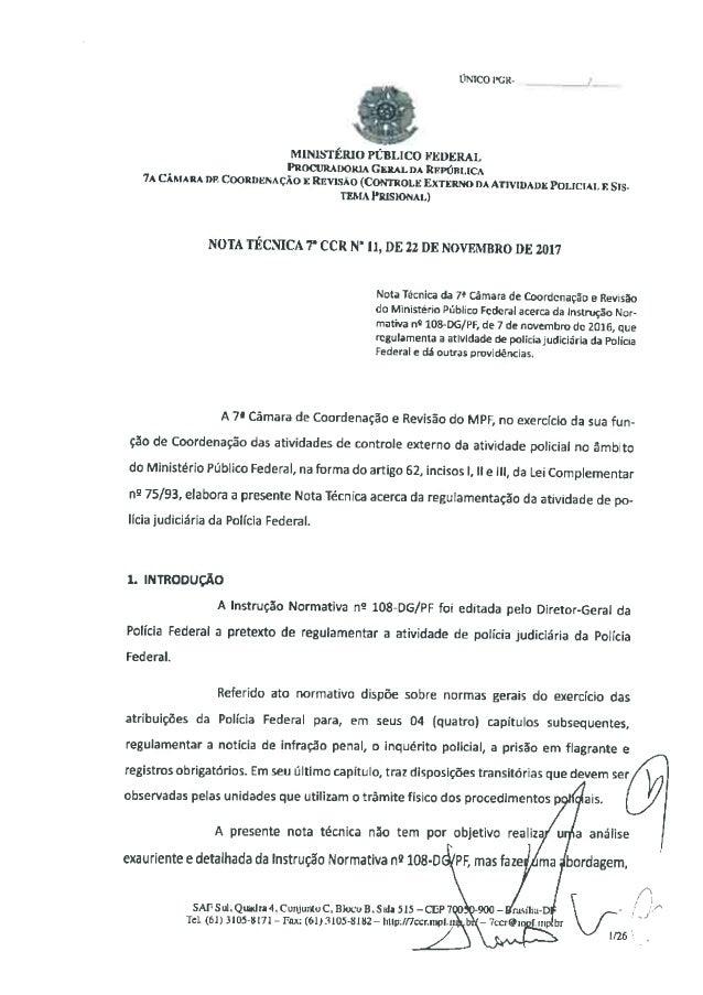 MPF emite nota técnica contra delação fechada pela PF