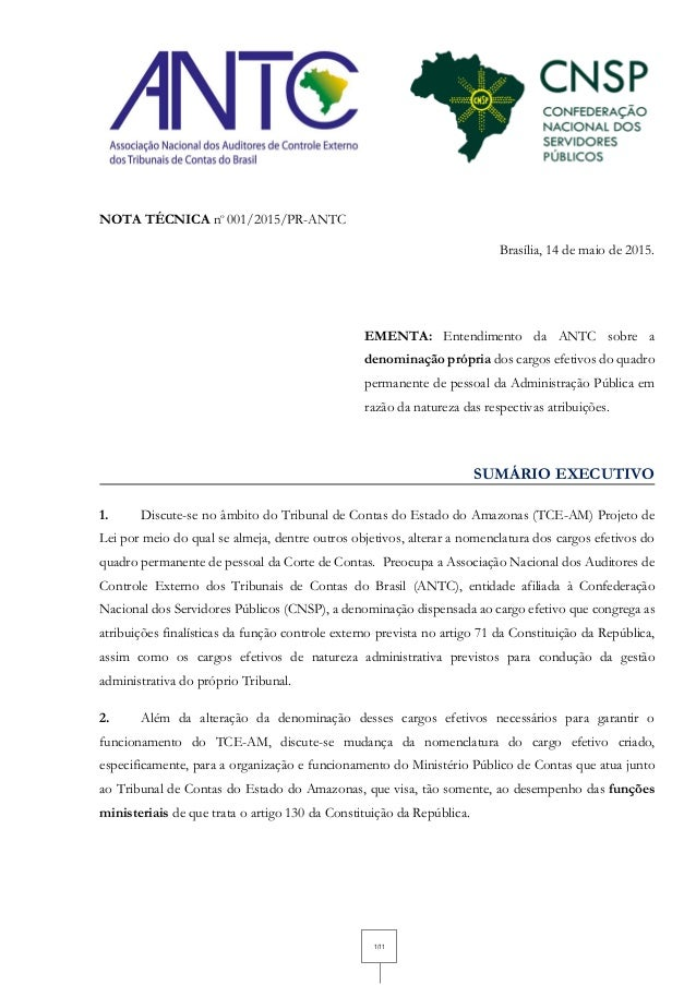 1/11 NOTA TÉCNICA no 001/2015/PR-ANTC Brasília, 14 de maio de 2015. EMENTA: Entendimento da ANTC sobre a denominação própr...