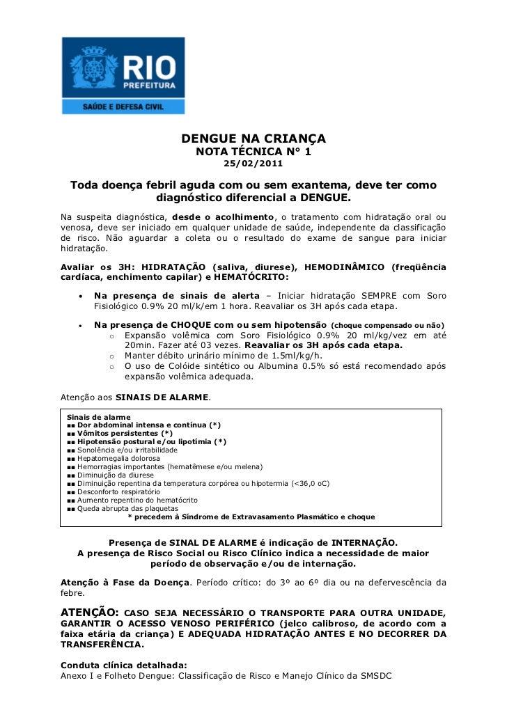 DENGUE NA CRIANÇA                                NOTA TÉCNICA N° 1                                       25/02/2011  Toda ...