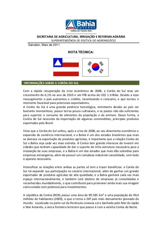 SECRETARIA DE AGRICULTURA, IRRIGAÇÃO E REFORMA AGRÁRIA SUPERINTENDÊNCIA DE POLÍTICA DO AGRONEGÓCIO Salvador, Maio de 2011 ...