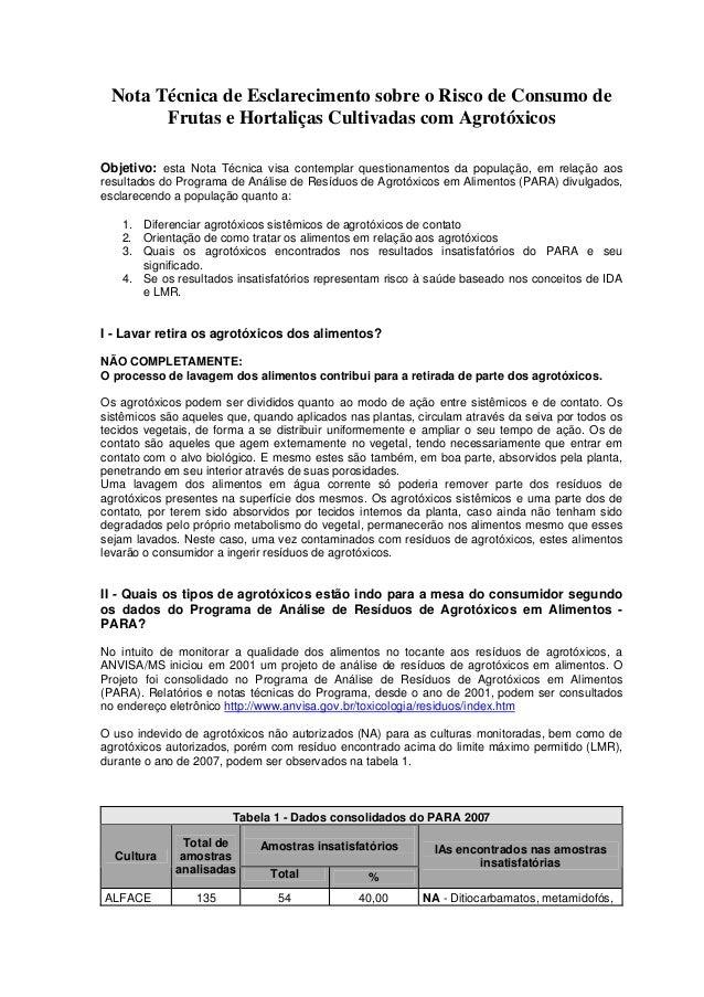 Nota Técnica de Esclarecimento sobre o Risco de Consumo de Frutas e Hortaliças Cultivadas com Agrotóxicos Objetivo: esta N...