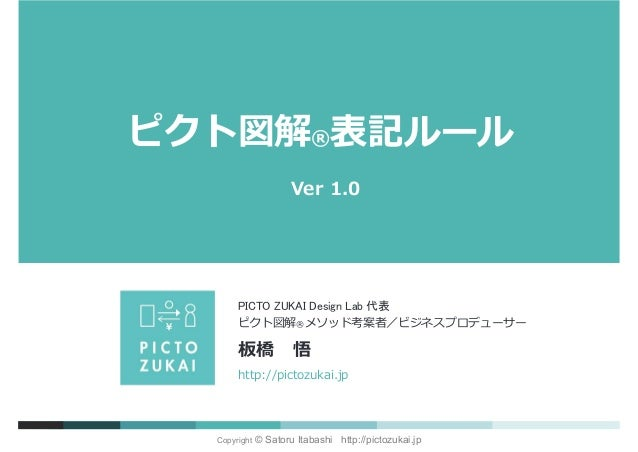 Copyright © Satoru Itabashi http://pictozukai.jp ピクト図解®表記ルール Ver 1.0 http://pictozukai.jp ピクト図解®メソッド考案者/ビジネスプロデューサー 板橋 悟 P...