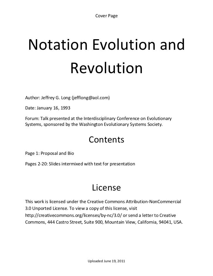 Cover Page      Notation Evolution and           Revolution  Author: Jeffrey G. Long (jefflong@aol.com) Date: January 16, ...