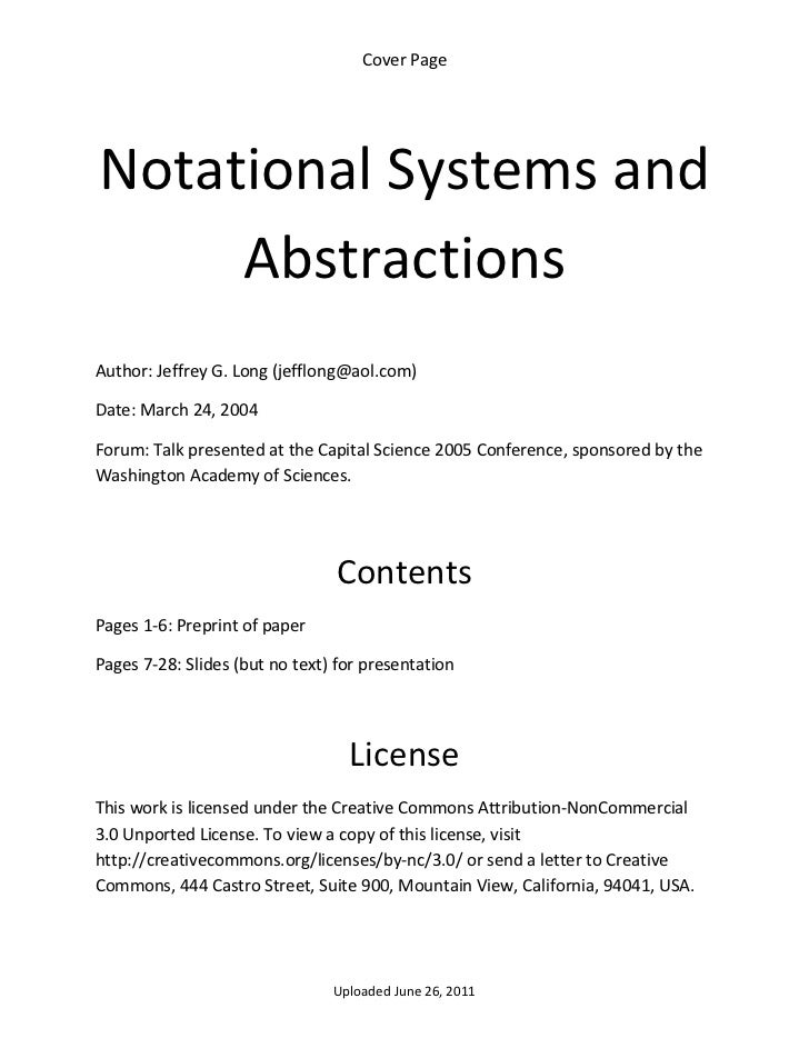 Cover Page      Notational Systems and          Abstractions  Author: Jeffrey G. Long (jefflong@aol.com) Date: March 24, 2...