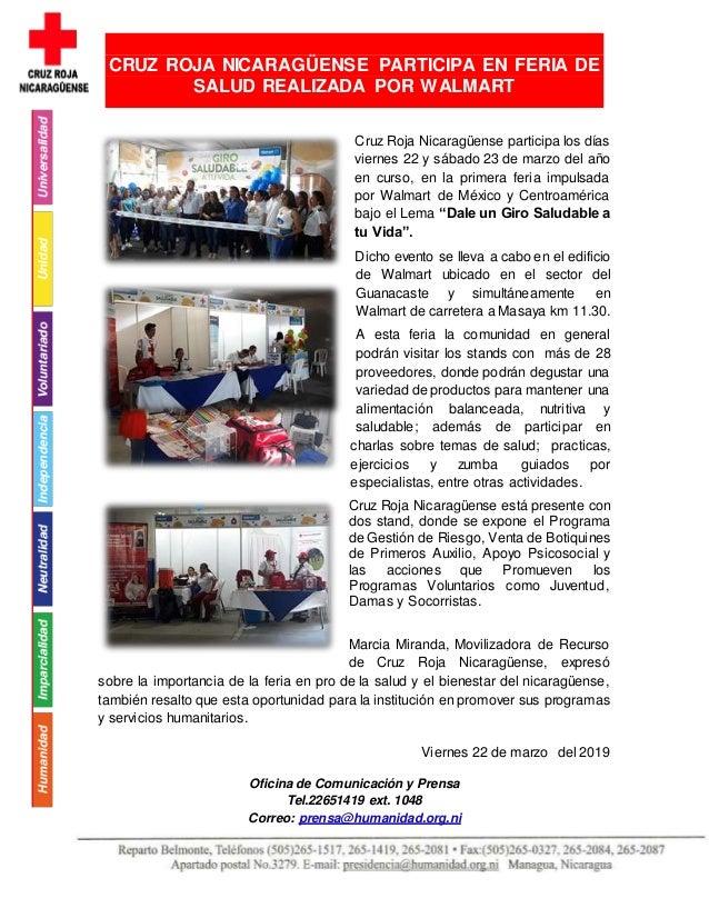 Cruz Roja Nicaragüense participa los días viernes 22 y sábado 23 de marzo del año en curso, en la primera feria impulsada ...