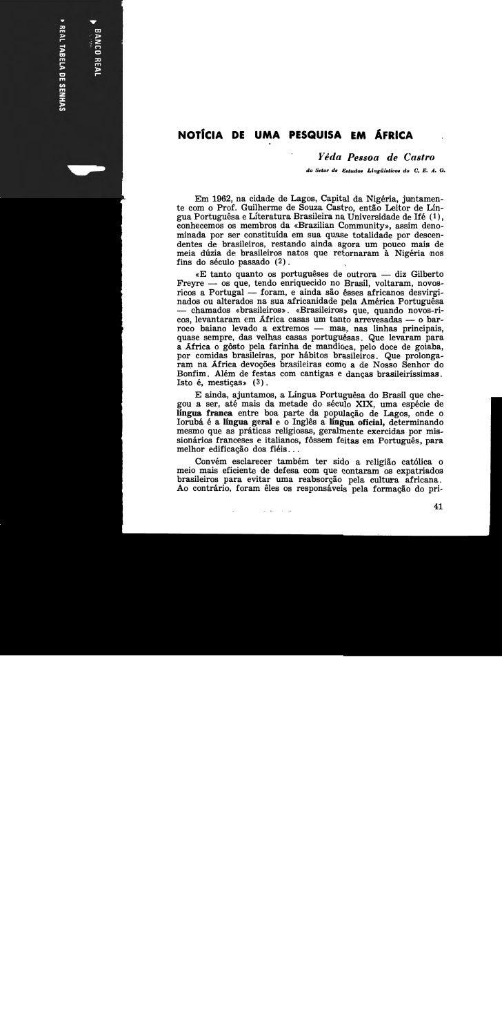 Yêda Pessoa de Castro                                  do Setor de Eitudar Llngiiirticor do C. E. A. O.      Em 1962,na ci...