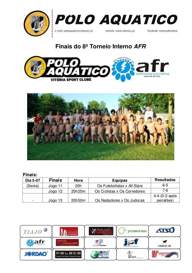 QUIMIGUIMA Finais do 8º Torneio Interno AFR Finais: Dia 5-07 Finais Hora Equipas Resultados (Sexta) Jogo 11 20h Os Futebol...