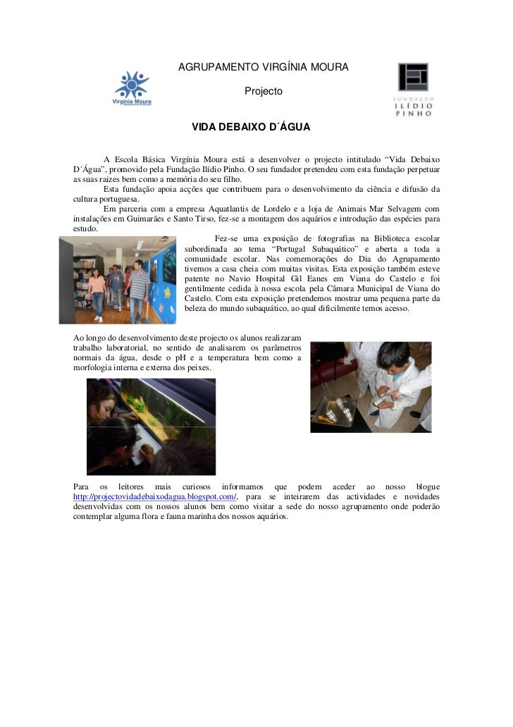 AGRUPAMENTO VIRGÍNIA MOURA                                               Projecto                                VIDA DEBA...
