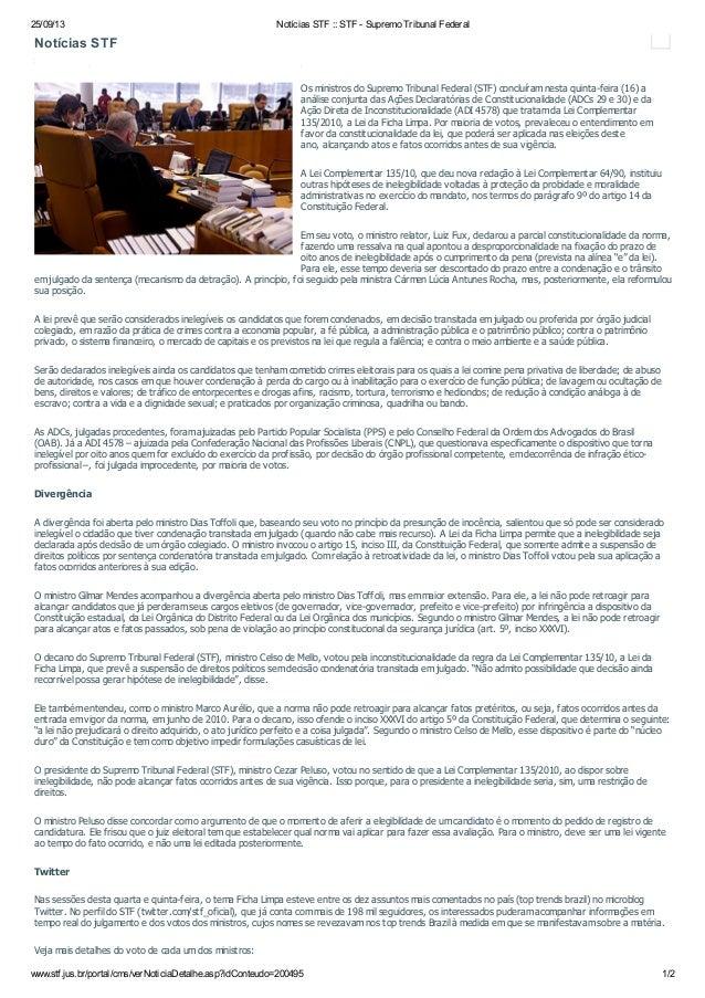 25/09/13 Notícias STF :: STF - Supremo Tribunal Federal www.stf.jus.br/portal/cms/verNoticiaDetalhe.asp?idConteudo=200495 ...