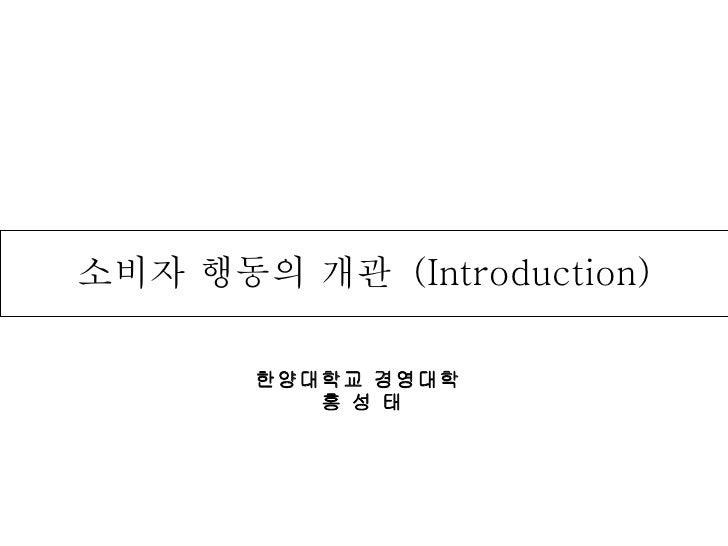 한양대학교 경영대학  홍 성 태 소비자 행동의 개관  (Introduction)