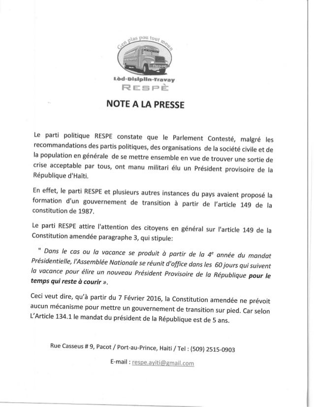 Gouvernement Provisoire: Note de Presse de RESPE