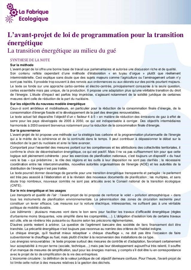 1 L'avant-projet de loi de programmation pour la transition énergétique La transition énergétique au milieu du gué SYNTHES...