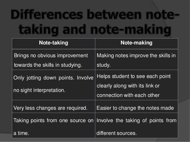 What is the difference between note taking and note making?