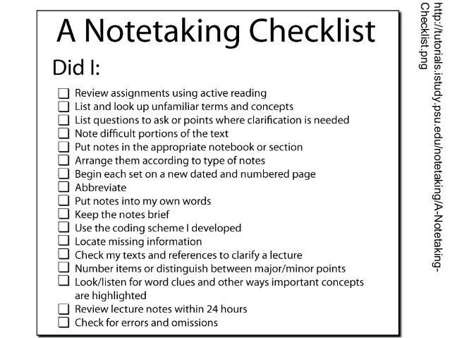 template for taking notes