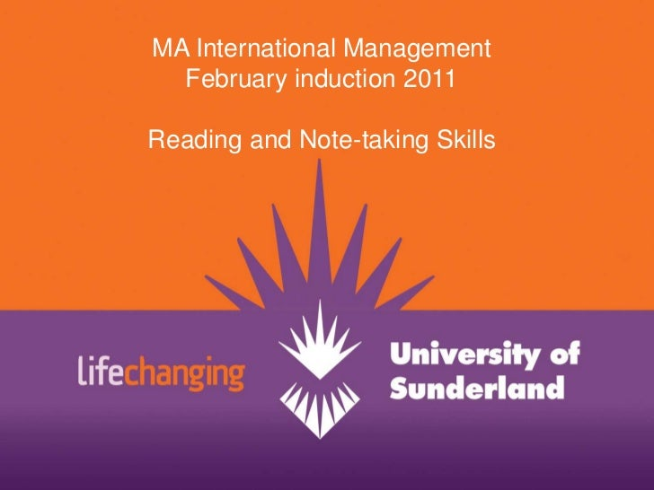 MA International Management <br />February induction 2011<br />Reading and Note-taking Skills<br />
