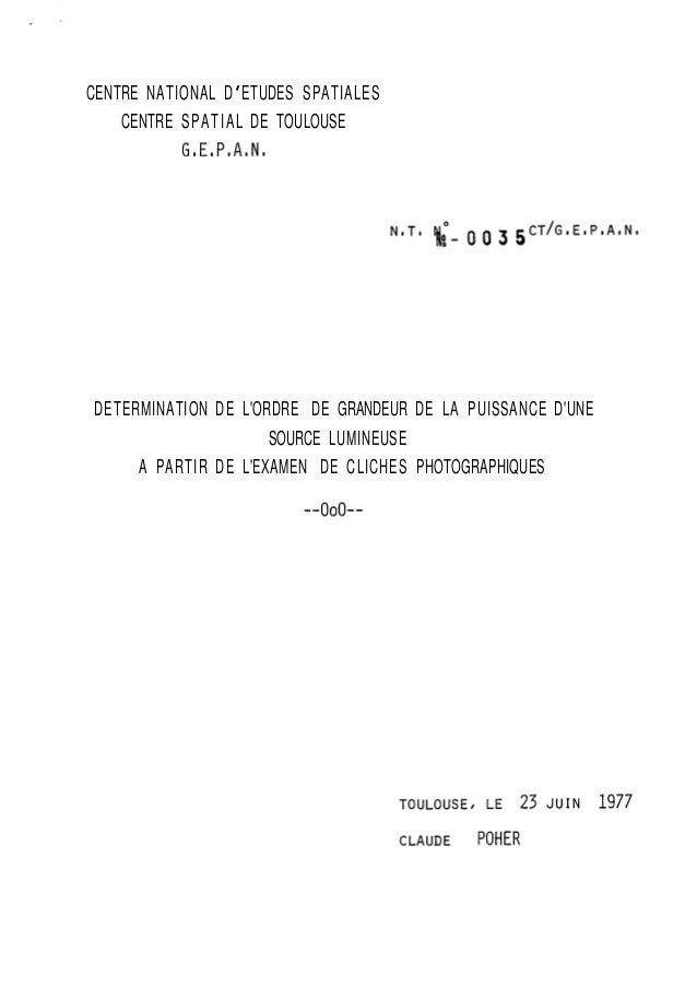 CENTRE NATIONAL D ' ETUDES SPATIALES  CENTRE SPATIAL DE TOULOUSE  G8E8P8A8N,  DETERMINATION DE L'ORDRE DE GRANDEUR DE LA P...