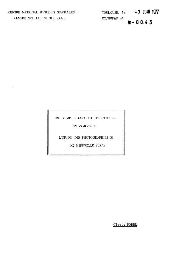 CENTRE NATIONAL D 'ETUDE S SPATIALES  CENTRE SPATIAL DE TOULOUSE  TOULOUSE, le - 7 JUIN 1977  UN EXEMPLE D'ANALYSE DE CLIC...