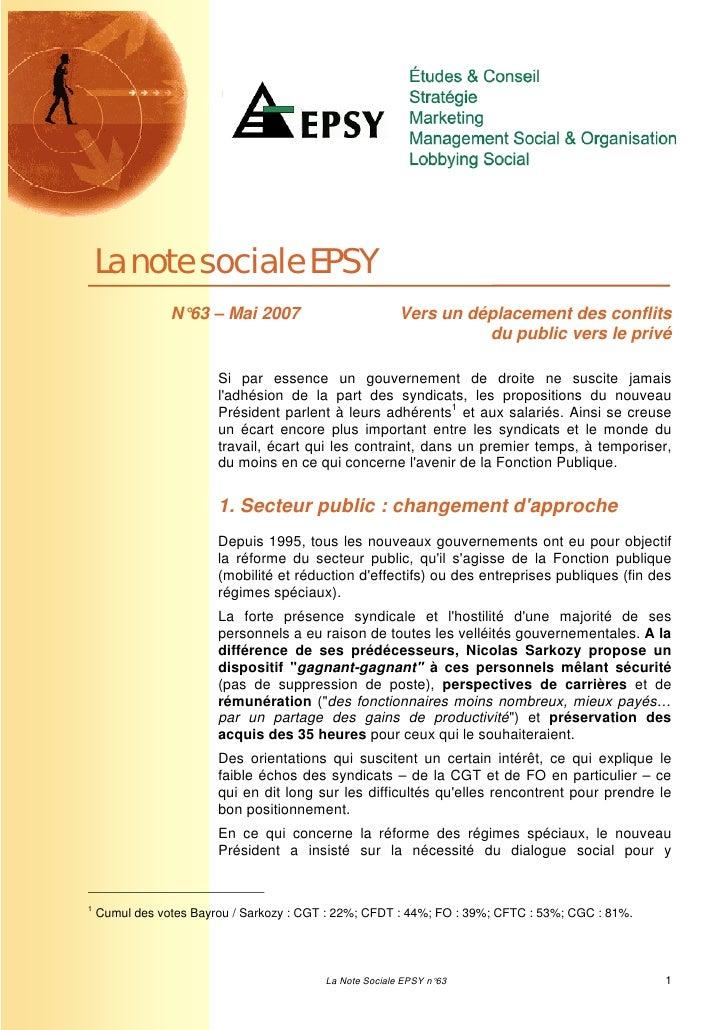 La note sociale EPSY                N°63 – Mai 2007                          Vers un déplacement des conflits             ...
