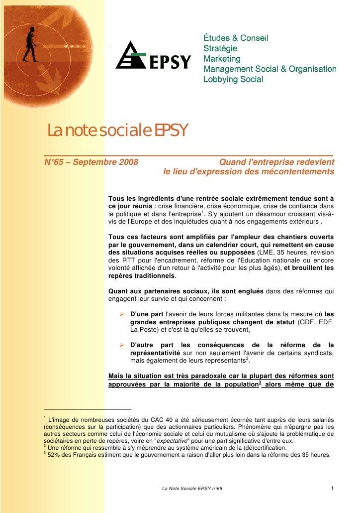 La note sociale EPSYN°65 – Septembre 2008                                     Quand lentreprise redevient                 ...