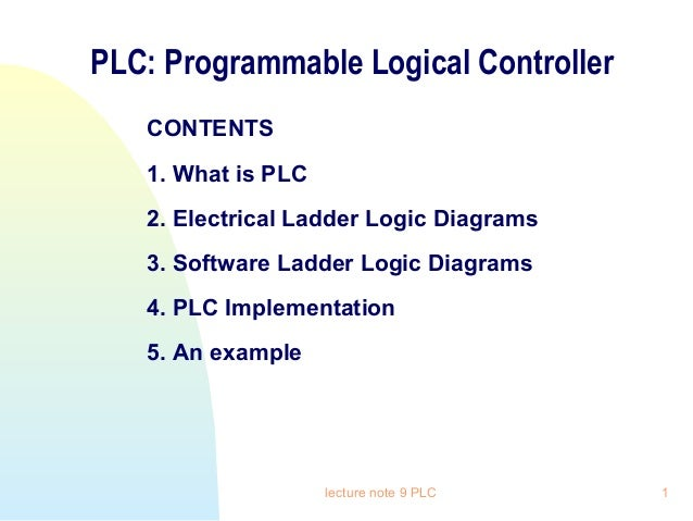 PLC: Programmable Logical Controller CONTENTS 1. What is PLC 2. Electrical Ladder Logic Diagrams 3. Software Ladder Logic ...