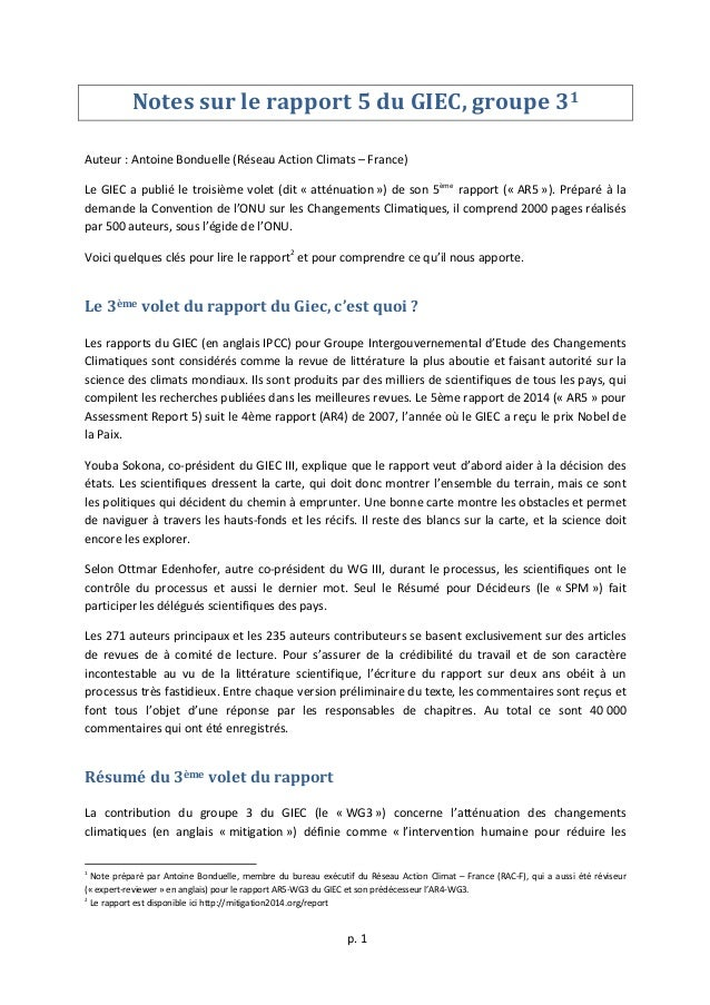 p.  1      Notes  sur  le  rapport  5  du  GIEC,  groupe  31      Auteur  :  Antoine ...