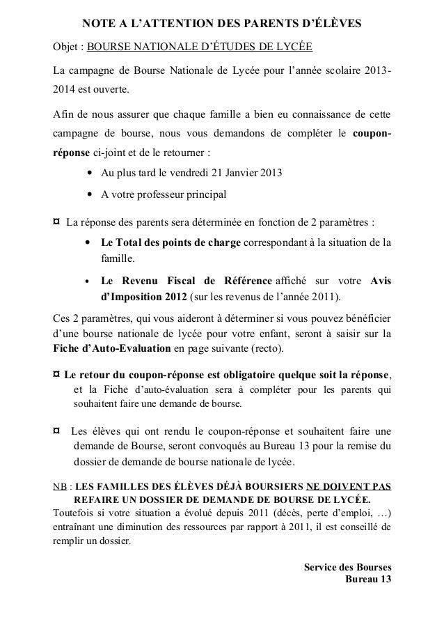 NOTE A L'ATTENTION DES PARENTS D'ÉLÈVESObjet : BOURSE NATIONALE D'ÉTUDES DE LYCÉELa campagne de Bourse Nationale de Lycée ...