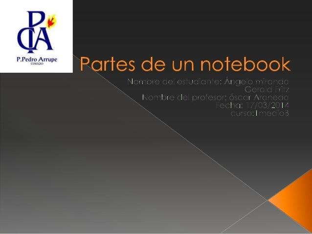  A continuación de presentaran los componentes del notebooks:  CPU de bajo consumo: Intel Core i3/i5/i7, Intel Core 2 Dú...