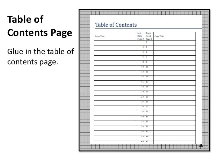 Table ofContents PageGlue in the table ofcontents page.                       1