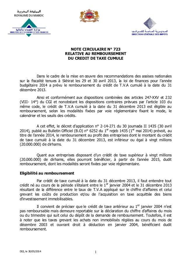 Note Circulaire Relative Au Remboursement Tva Au Maroc