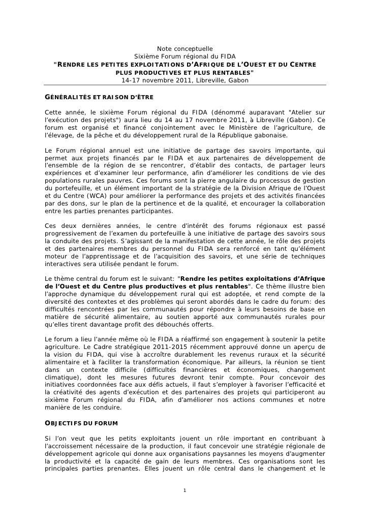 """Note conceptuelle                             Sixième Forum régional du FIDA    """"RENDRE LES PETITES EXPLOITATIONS D'AFRIQU..."""