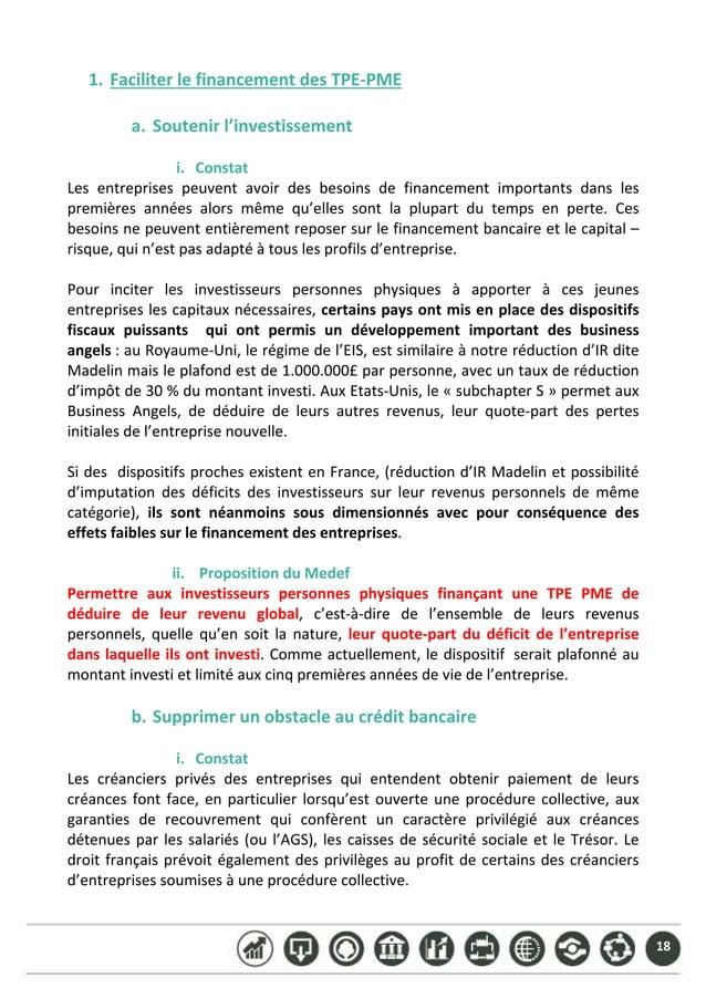18 1. FaciliterlefinancementdesTPE‐PME  a. Soutenirl'investissement  i. Constat Les entreprises peuvent avoi...
