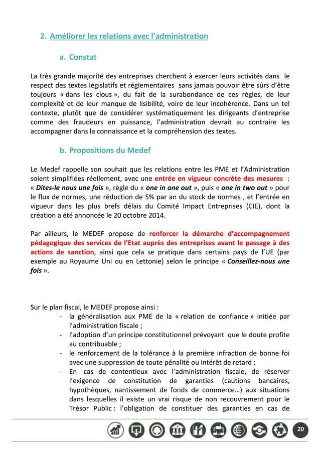 20 2. Améliorerlesrelationsavecl'administration  a. Constat  Latrèsgrandemajoritédesentreprisescherchentà...