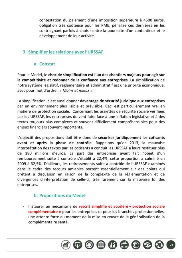 21 contestation du paiement d'une imposition supérieure à 4500 euros, obligation très coûteuse pour les PME,...